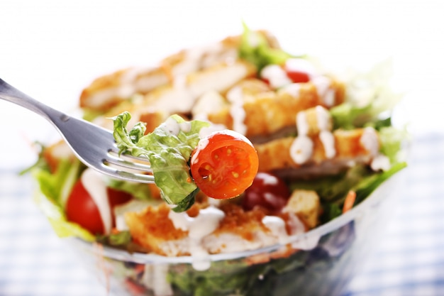 Healthy salad with chicken and vegetables Free Photo