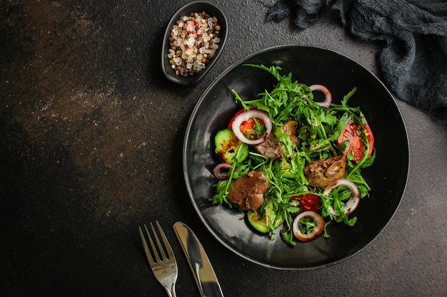 Healthy salad with liver (tasty appetizer) menu  food   top view Premium Photo