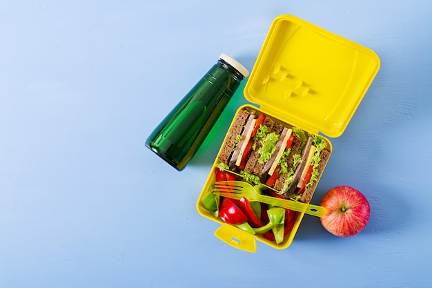 Healthy school lunch box with beef sandwich and fresh vegetables, bottle of water and fruits background Free Photo