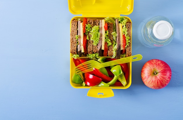 Healthy school lunch box with beef sandwich and fresh vegetables, bottle of water and fruits on blue table. top view. flat lay Free Photo