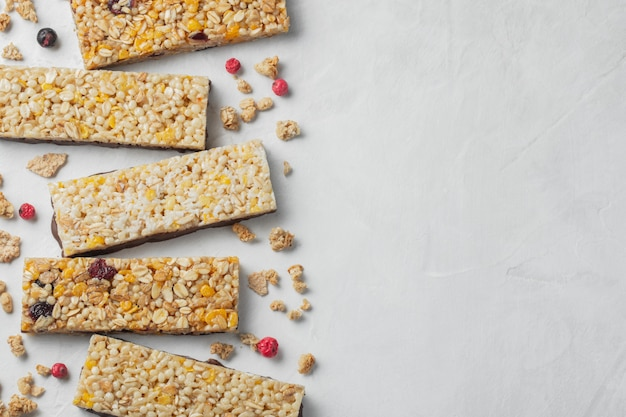 Healthy sweet dessert snack. cereal granola bar. Premium Photo