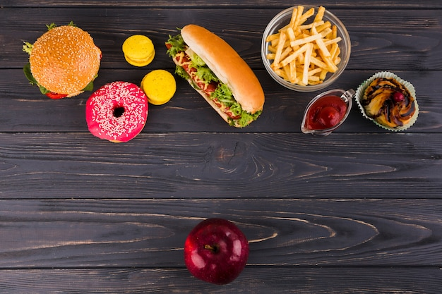 Healthy and unhealthy food Free Photo