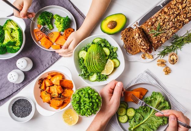 Healthy vegan food lunch, top view. Premium Photo