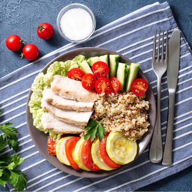 Healthy vegetable buddha bowl lunch with turkey, vegetables and Premium Photo