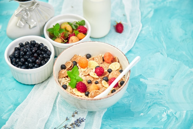 Healthy vegetarian breakfast with berries and cereal Premium Photo