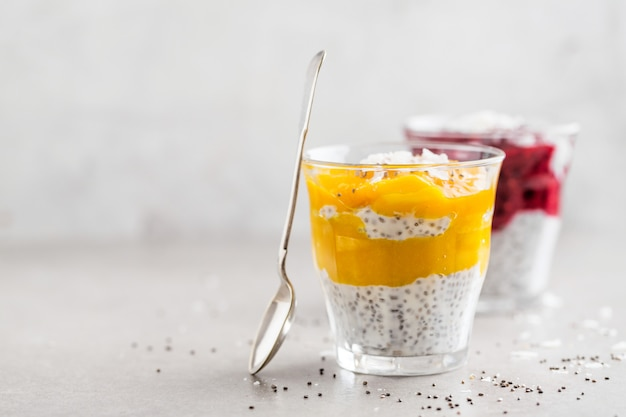 Healthy yogurt desserts with chia seeds Premium Photo