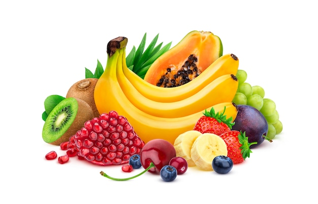 Heap of fresh exotic fruits and berries isolated on white background, different tropical fruits collection Premium Photo