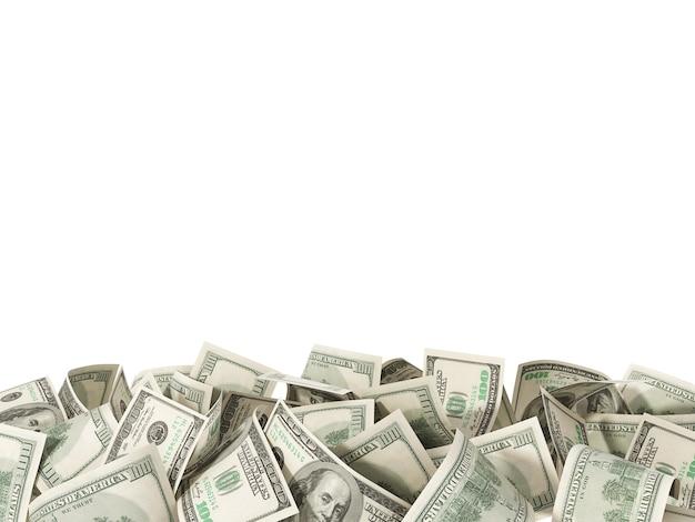 Heap of hundred dollar bills isolated on white background Premium Photo