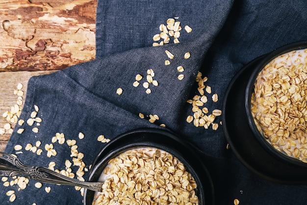 Heap of oats inside bowls Free Photo