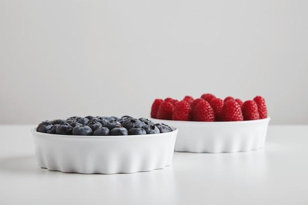 Куча спелой малины и черники, точно помещенные в керамические миски, изолированные на белом столе Бесплатные Фотографии