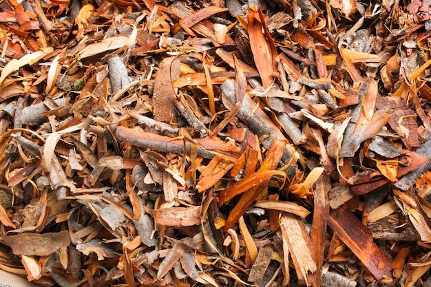 A heap of pieces of bark of alder Premium Photo