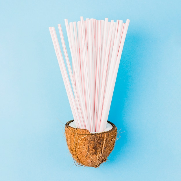 Heap of plastic straws in coconut Free Photo