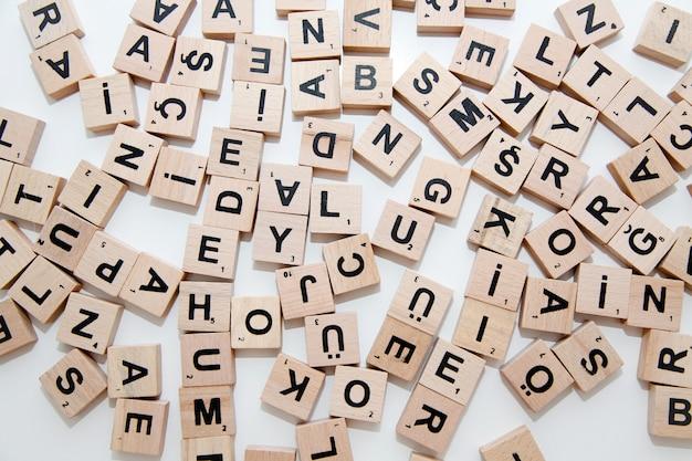 Heap of scrabble letters Premium Photo