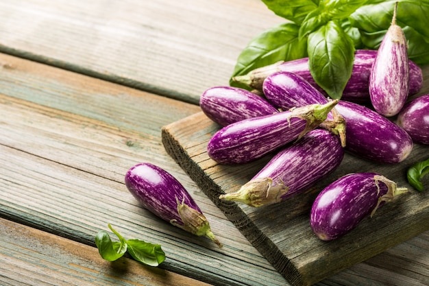 Heap of small eggplant or aubergine Premium Photo