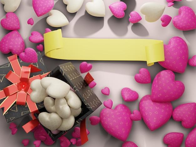 Коробка сердца и шоколада с пустым пространством желтой ленты по центру. 3d визуализация Premium Фотографии