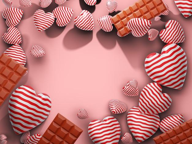 Сердце и шоколад с пустым пространством по центру. 3d визуализация Premium Фотографии