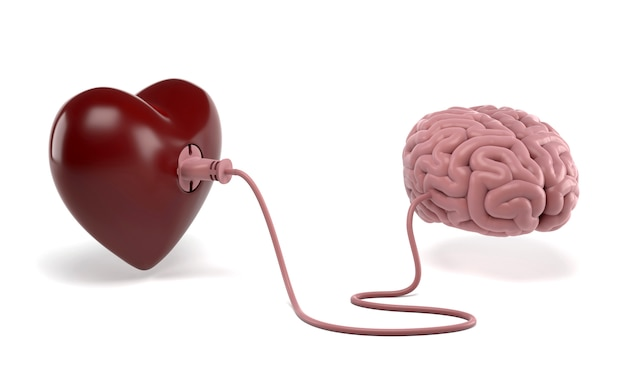 Heart and brain connected with power plug Premium Photo