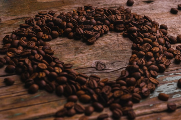 Heart from coffee beans Free Photo