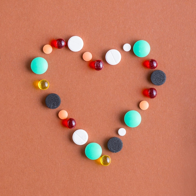 Heart from various pills Free Photo