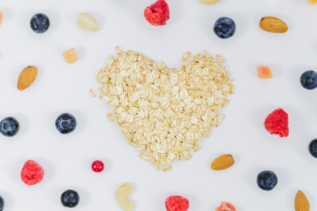 Heart of fruits and cereals Free Photo