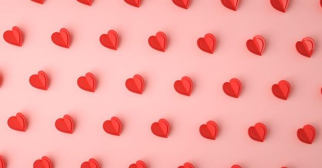 심장 사랑 기호 3d 렌더링 패턴, 발렌타인 데이 컨셉 포스터, 배너 또는 배경 프리미엄 사진