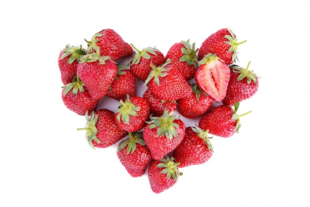 Heart made from strawberry, isolated on white Premium Photo