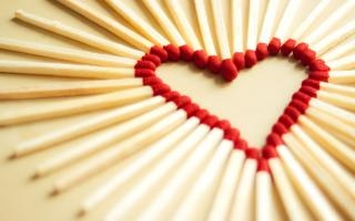 heart made with matchsticks Free Photo