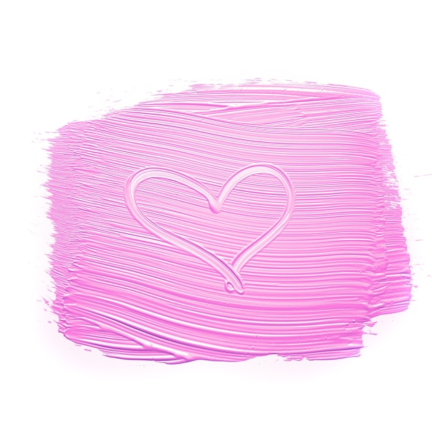Heart on pink smudged paint Free Photo