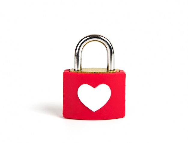 Heart padlock and key on a white background Free Photo