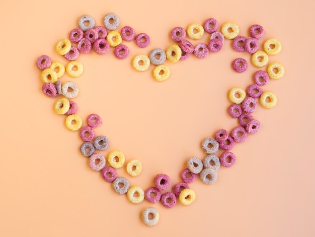 Heart shape made with fruit loops Free Photo