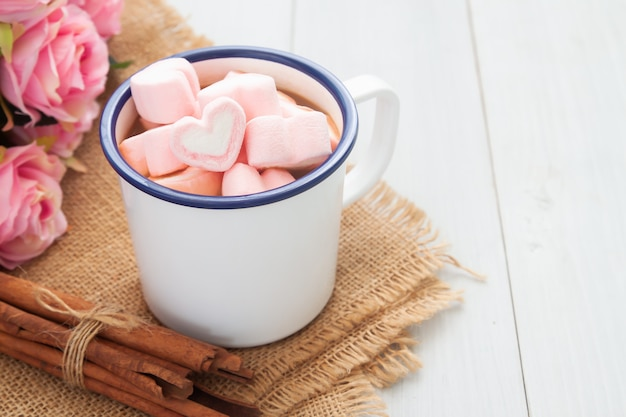 Heart shape marshmallows on hot chocolate cup. love and valentine's day concept Premium Photo