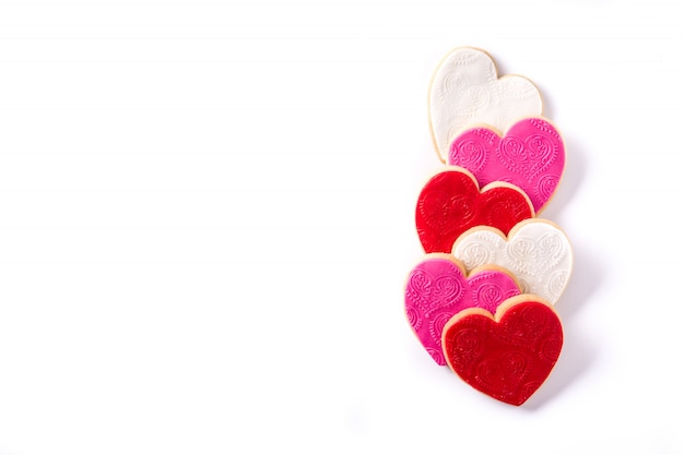 Heart-shaped cookies for valentine's day on white surface Premium Photo