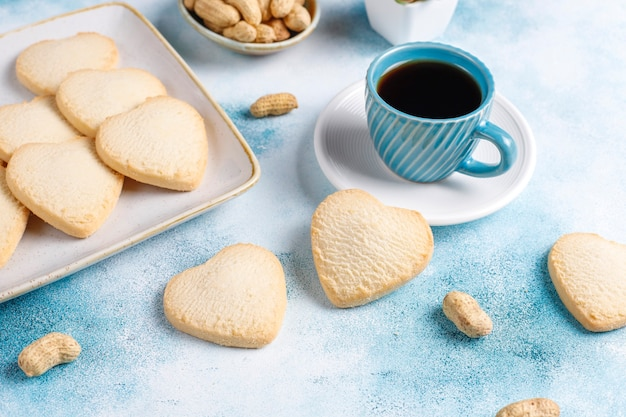 Heart shaped cookies with peanut. Free Photo