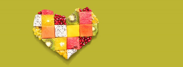 Heart symbol fruits diet concept food Premium Photo
