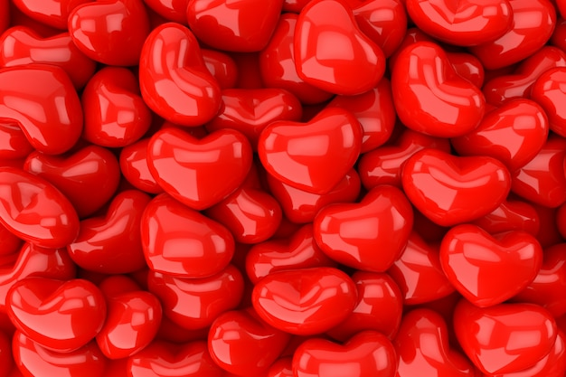 Hearts background, 3d rendering. Premium Photo