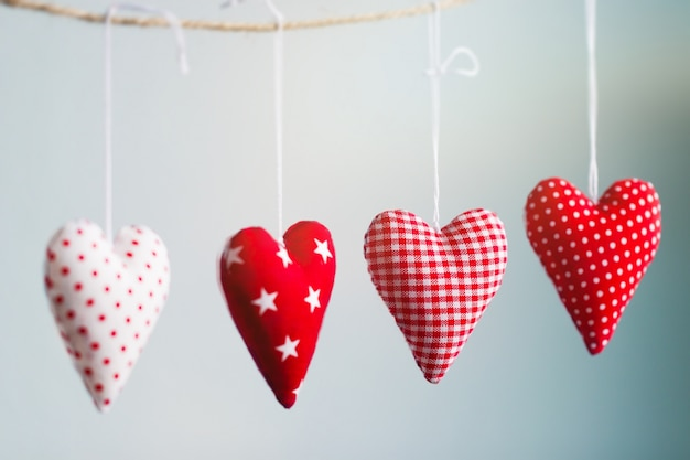 Hearts hanging from a rope Free Photo