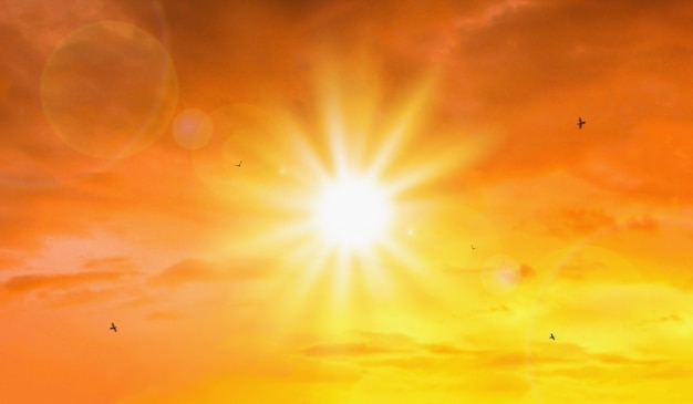 Heat wave of extreme sun and sky Premium Photo