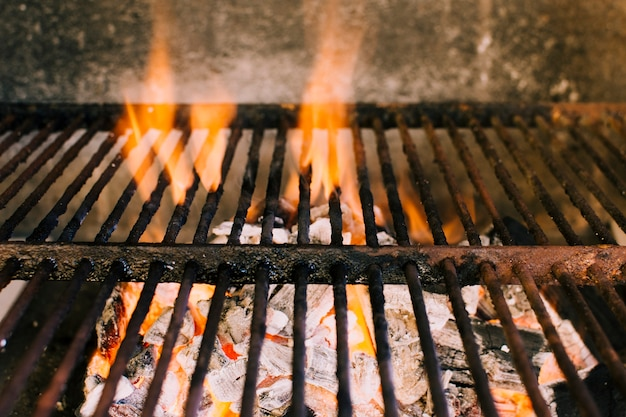 Heavy fire for grilling on hot charcoal Free Photo