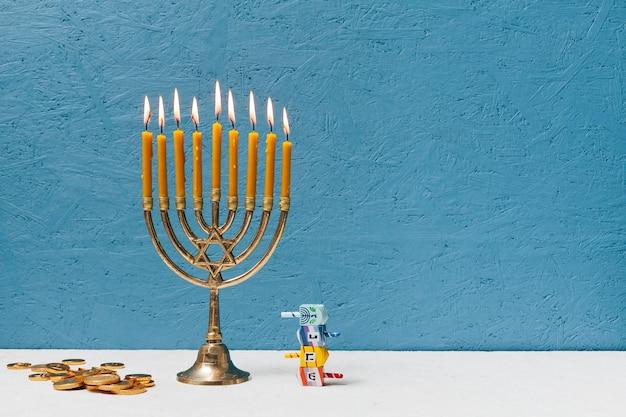 Hebrew candlestick holder burning Free Photo