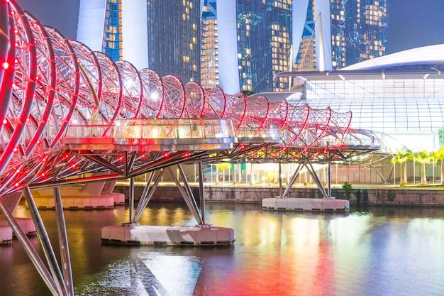 Helix bridge at night in singapore Premium Photo