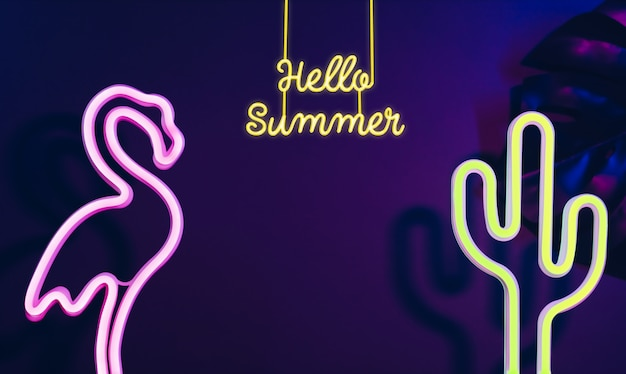 Hello summer with pink flamingo, cactus and monstera leaf with neon pink and blue light Premium Photo