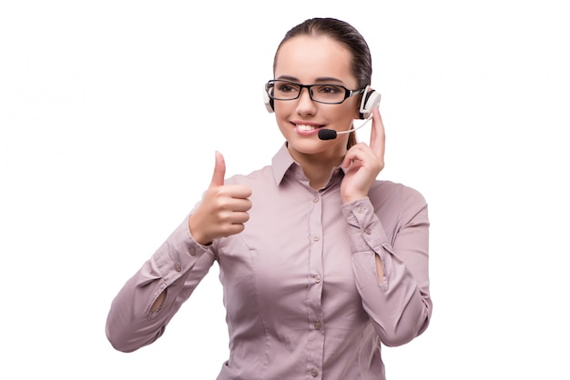 Helpdesk operator isolated on the white background Premium Photo