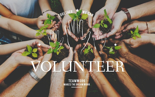 Helping hands volunteer support community service graphic Free Photo
