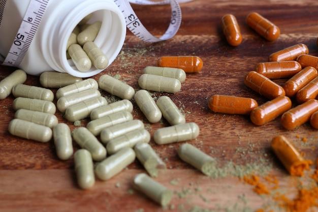 Herbal medicines in capsule Premium Photo