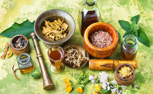 basic Naturopathic Medicines on a table