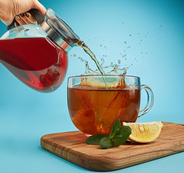 Herbal tea on blue background Free Photo
