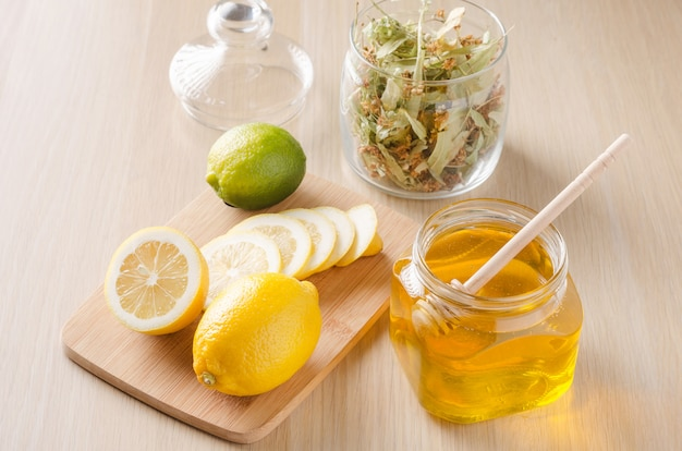 Herbal tea with lemon and honey. Premium Photo