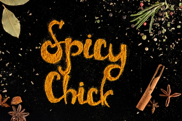 Herbs and spices, chili pepper powder over black Free Photo