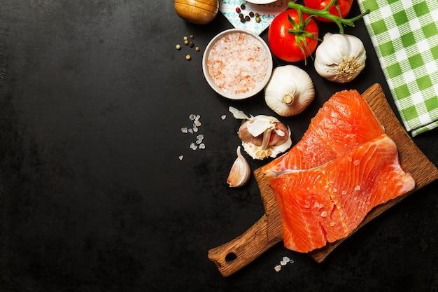 herbs vegetable salmon healthy menu Free Photo