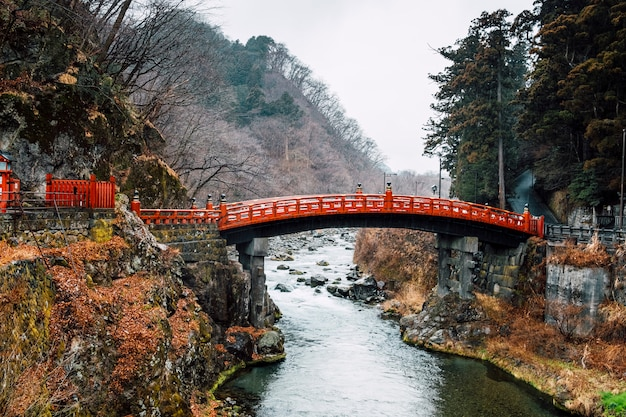 Heritage red bridge in japan Free Photo